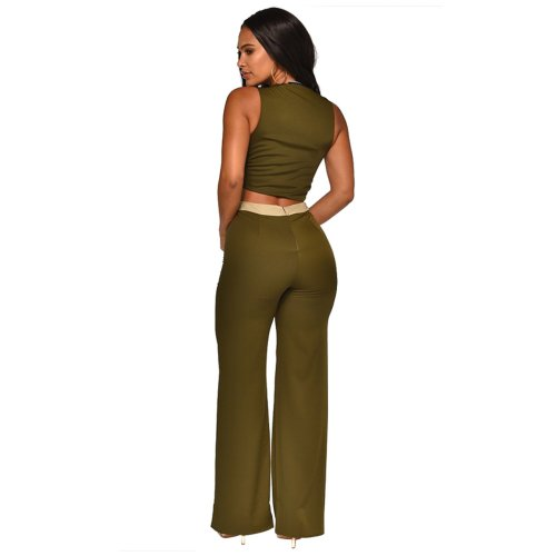 Army Green Color Block Wrap Crop Tops Casual Pants Sets XZ3286