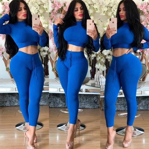 Blue Crop Top Pencil Pants Solid Color Ribber Bodycon Suits YT3171