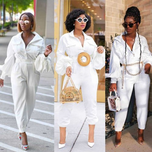 White Leissure Long Sleeves Autumn Winter Jumpsuits BLX7331