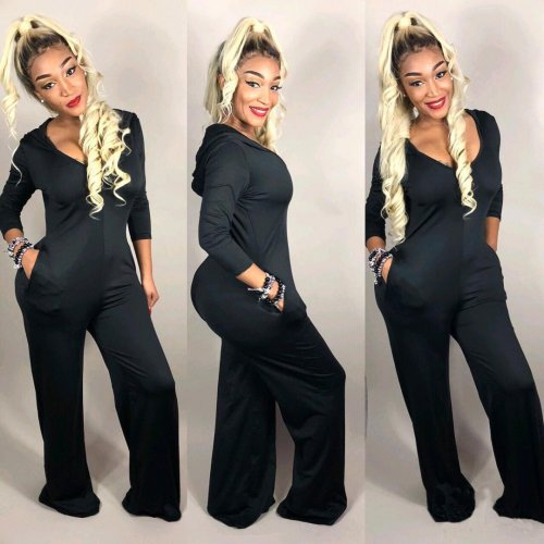 Fall Women Black Wide Leg Loose Jumpsuits SMD6647