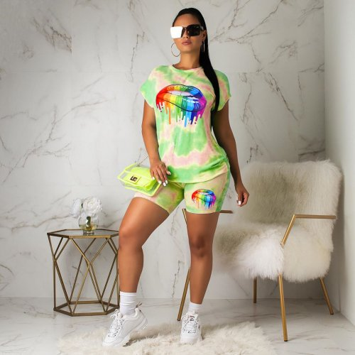 Green Wholesale Lip Printing Tie Dye Track Suits For Women YT3167