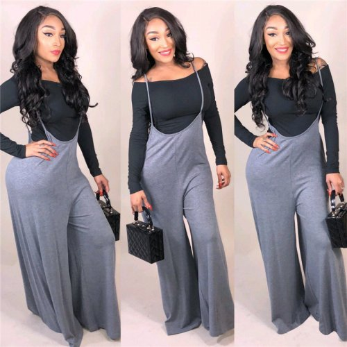 Hot Off Shoulder Undershirt Condole Belt Wide Leg Pants SMD6642