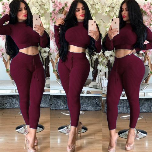 Wine Red Crop Top Pencil Pants Solid Color Ribber Bodycon Suits YT3171