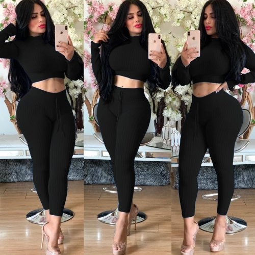 Black Crop Top Pencil Pants Solid Color Ribber Bodycon Suits YT3171