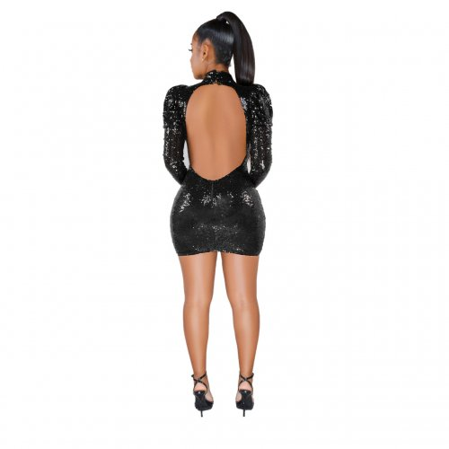 Black Glitter Sequins Backless Bodycon Mini Dress SMR9375