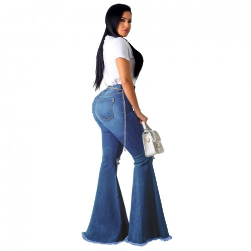 Women Fashion Casual Blue Slipt Flare Jeans SMR2074