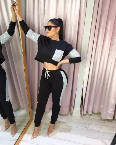 Black Running Outfits Color Block Top Elastic Waist Slinky Pants W8216
