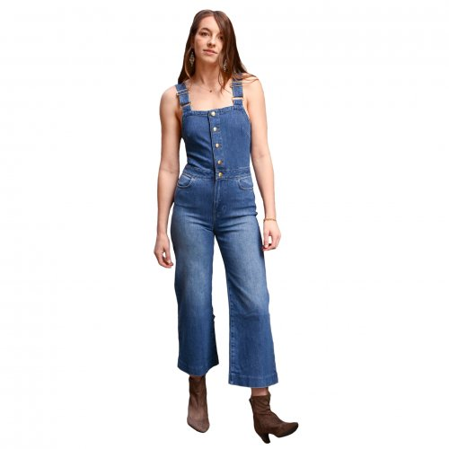 Lady Daily Wear Lovely Strappy Jeans Wide Leg Jumpsuits JLX8910