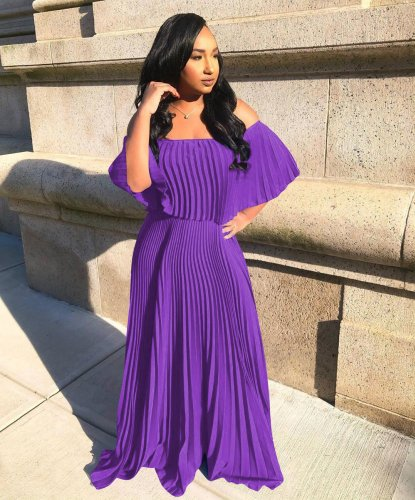 Purple Strapless Women Party Blue Pleated Maxi Dress W8213