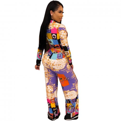 Purple  Women Deep V Collar Digital Printing Mid Waist Jumpsuit SMR9373
