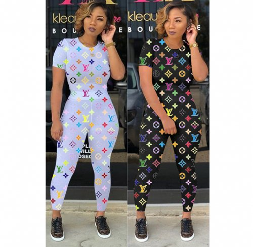 Black Colorful Letter Print T Shirts Skinny Pants Sets OMM1083