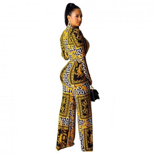 Yellow Women Deep V Collar Digital Printing Mid Waist Jumpsuit SMR9373