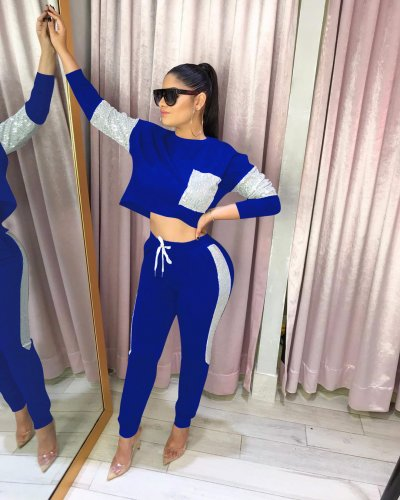Blue Running Outfits Color Block Top Elastic Waist Slinky Pants W8216