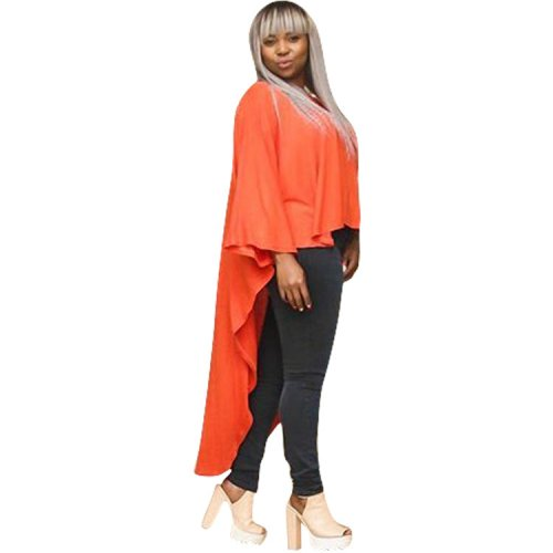 Orange Overlay Bat Blouse Women Fashion T Shirts MTY6213