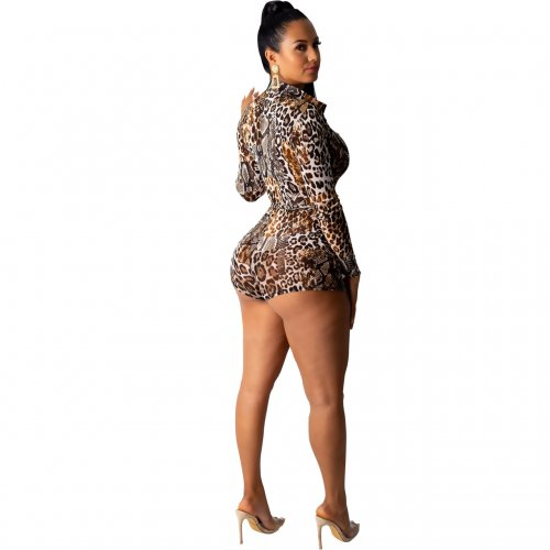 Brown Sexy Leopard Print Long Sleeves Romper Shorts M962