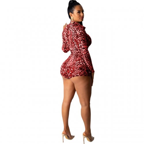 Red Sexy Leopard Print Long Sleeves Romper Shorts M962
