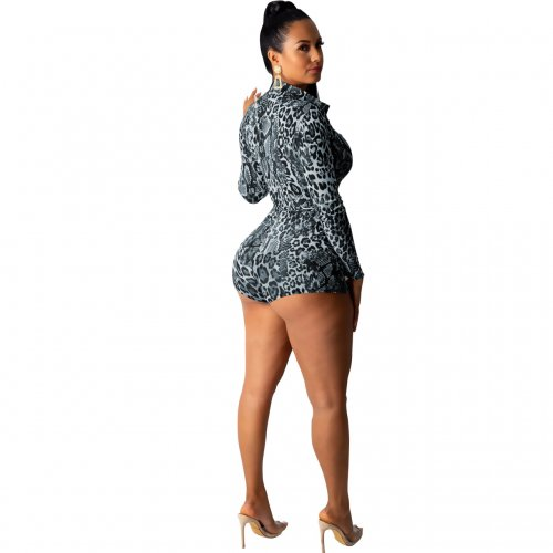 Black Sexy Leopard Print Long Sleeves Romper Shorts M962