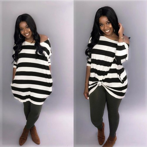 Black Striped Loose Casual T Shirt Dress AMM8185
