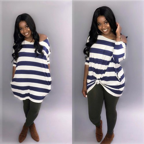 Blue Striped Loose Casual T Shirt Dress AMM8185