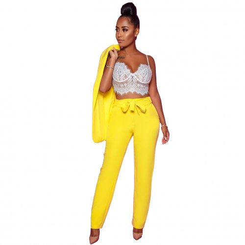 Yellow Office Lady Suits Pencil Pants Two Pieces Sets AL054
