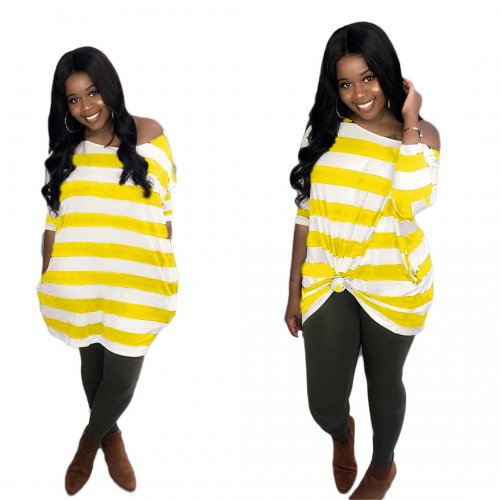 Yellow Striped Loose Casual T Shirt Dress AMM8185