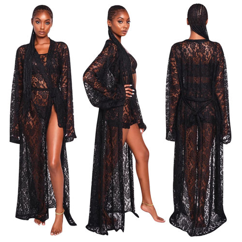 Black Lace 3 Pieces Outfits Strappy Tank Top Bodycon Shorts Long Coat QQM3846