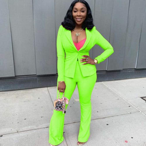 Fluorescent Green New Design Office Lady Solid Suits Two Pieces Sets N9164