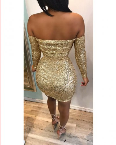 Sexy Off Shoulder Gold Sequins Bodycon Minid Club Dress N9166