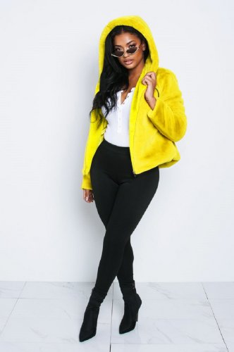 Yellow Women Winter Thick Fur Hoodie Short Jackets X9201