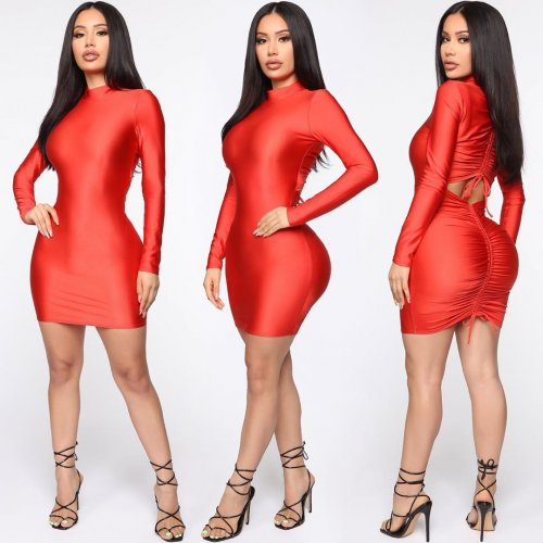 Unique Solid Color Long Sleeves Bodycon Pleated Dress YS302