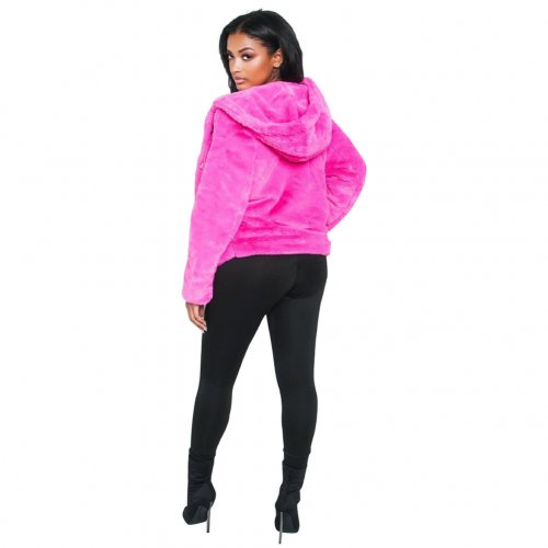 Rose Red Women Winter Thick Fur Hoodie Short Jackets X9201