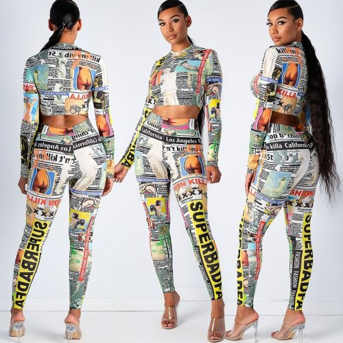 Newspaper Print Crop Tops Skinny Leggings Two Pieces Outfits YS310