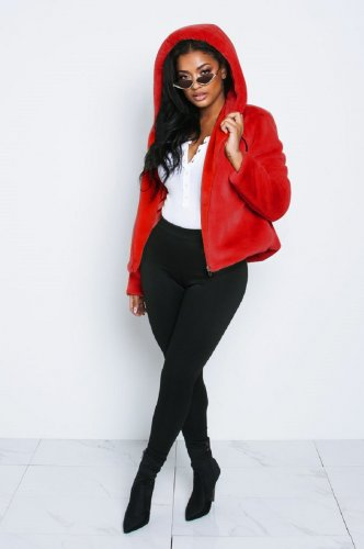Red Women Winter Thick Fur Hoodie Short Jackets X9201
