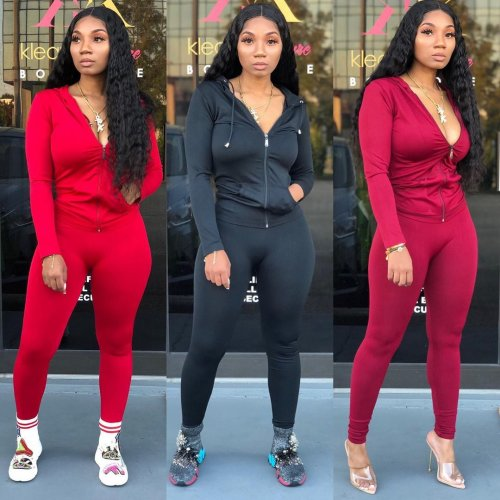 Wine Red Solid Zipper Hoodie Jackets Skinny Pants Sports Outfits X9179