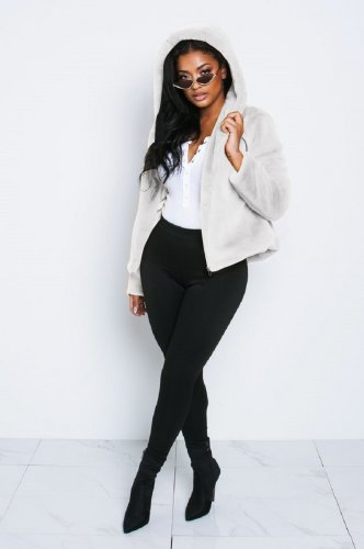 White Women Winter Thick Fur Hoodie Short Jackets X9201