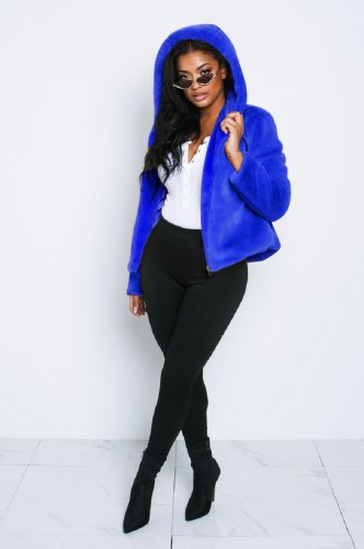 Blue Women Winter Thick Fur Hoodie Short Jackets X9201