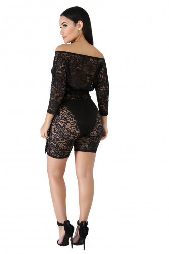 Black Deep V Neck Transparent Lace Midi Shorts Jumpsuits LA3136