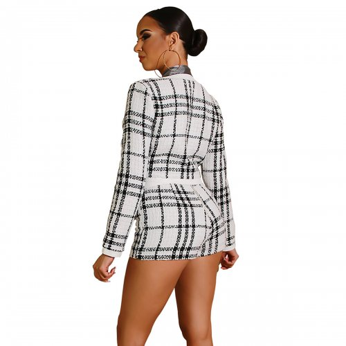 White Plaid Crop Long Sleeves Jackets Elastic Shorts Sets ZS0233