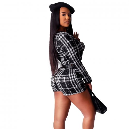 Black Plaid Crop Long Sleeves Jackets Elastic Shorts Sets ZS0233