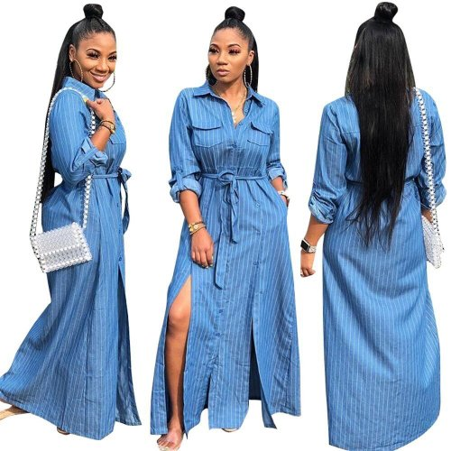 Women Daily Wear Blue Striped Long Shirt Dress TRS969