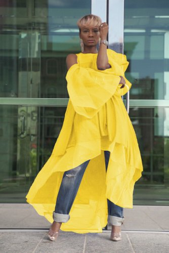 Yellow Women Fashion Chiffon Overlay Long Dress TRS979