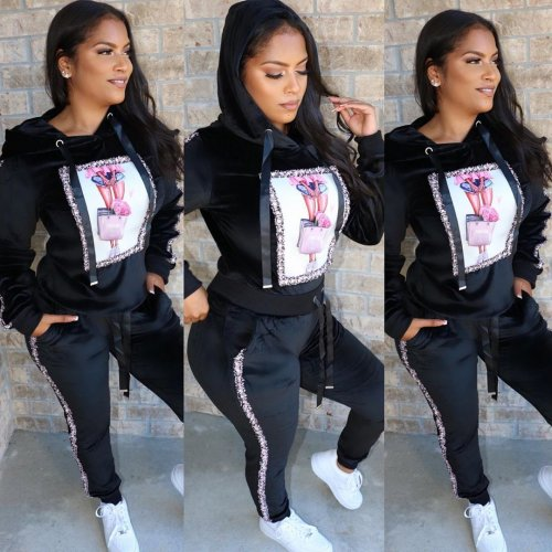 Black Winter Thick Hoodie Tops Skinny Sports Pants Outfits HG5275