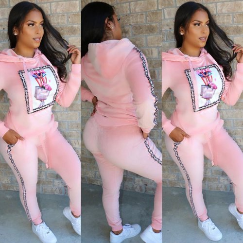 Pink Winter Thick Hoodie Tops Skinny Sports Pants Outfits HG5275