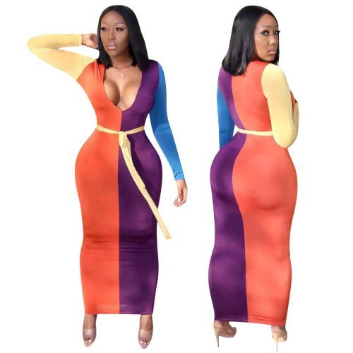 Female Color Block Ankle Bodycon Sexy Party Dress QQM3857