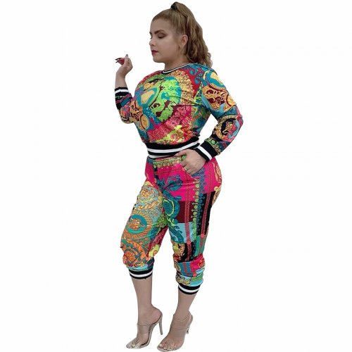 Tie Dyeing Print Autumn Winter Women Two Pieces Sets Tracksuits BM7029