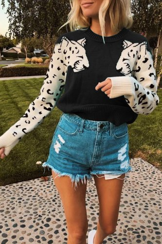 Black Winter Lovely Print Casual Thick Sweater Ladies Clothing K050