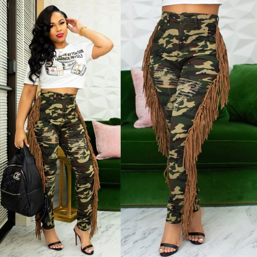 Camouflage Fashion Printing Women Slit Hole Bodycon Pants With Tassel Q353