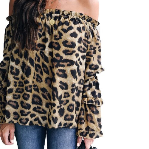 Off Shoulder Leopard Print Casual Daily Wear Blouse MA6255