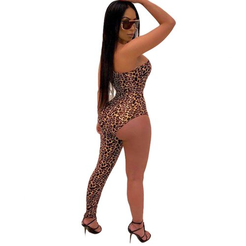 One Shoulder Leopard Print Sexy Jumpsuits ML7251