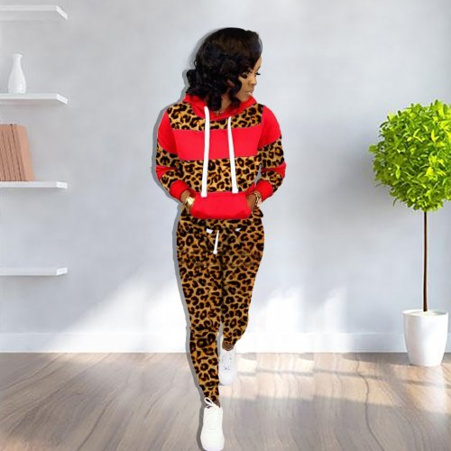Red Thick Patchwork Hoodie Sweaters Skinny Leopard Print Pants Sets YX9158